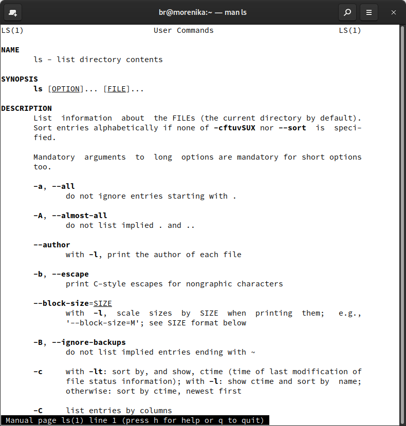 man ls displays the manual of the ls command: everything you need to know about what ls can be used for.