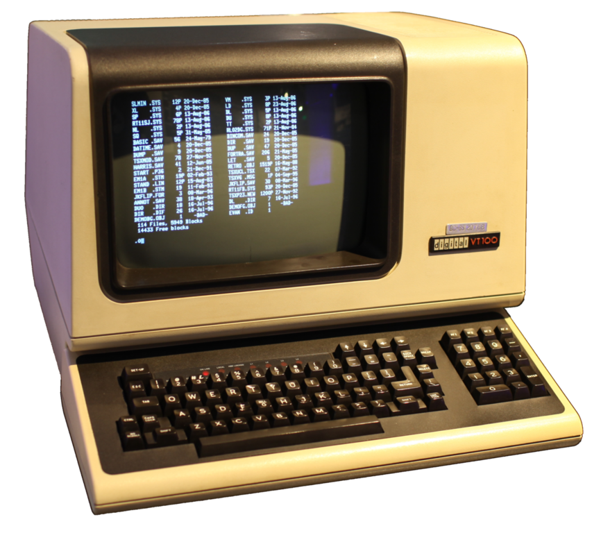 The DEC VT100, a physical video terminal dating back 1978